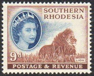 Southern Rhodesia 1953 9d Lion MH