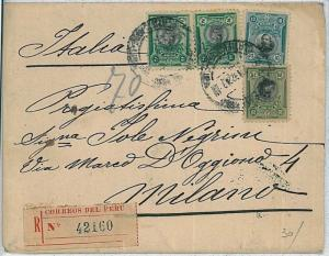 PERU -  POSTAL HISTORY : REGISTERED COVER to ITALY  1922