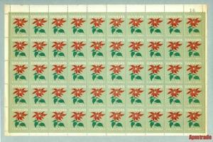 Denmark. Christmas Sheet 1950. Full Sheet MNH,Folded. Christmas Flower.