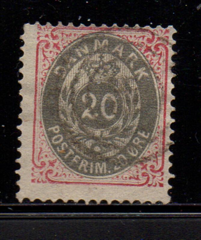 Denmark Sc 31 1875 20 ore rosse & gray stamp used