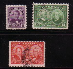 Canada Sc 146-8 1927 Historical stamp set used