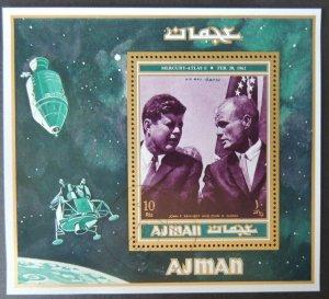 AJMAN 1971 Kennedy John Glenn VFU space american presidents