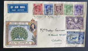 1938 Rangoon Burma Airmail First Day Cover To Calcutta India King George VI Defi
