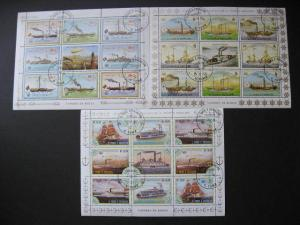 Topical ships, boats, sailboat sailing 3 sheets. Sao Tome & Principe Sc 754-6