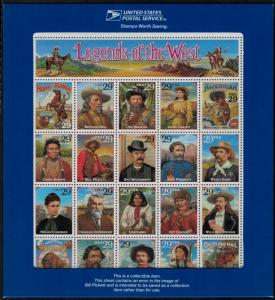 MALACK 2870, 29c RECALLED Legends of the West,  Sheet w9089