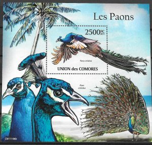 Comoro Islands MNH S/S Peacocks Birds 2011