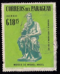 PARAGUAY 1961 (MOISES DE MIGUEL ANGEL) AEREO G/,18,15 USED STAMP