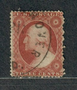 US Sc#25 Used/F, Plate #6 Rich Color!, Cv. $175