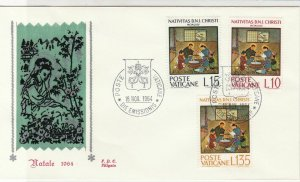Vatican 1964 Crest Cancels Nativity Scene Picture + Stamps FDC Cover Ref 29490