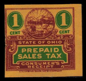 UNITED STATES REVENUE STATE OF OHIO VINTAGE 1c CONSUMER'S TAX RECEIPT STAMPS