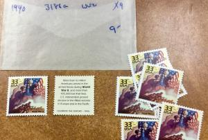 3186a   Celebrate the Century  Events of 1940s   9 MNH 32¢ stamps    World War 2