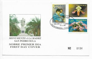 HONDURAS 1999 MOTHER DAY ORCHIDS FLOWERS POLICE WOMAN SET OF 3 VALUES ON FDC