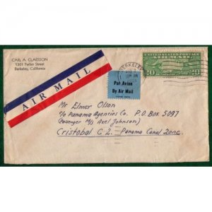 1933 Scott #C9 Air Mail Berkeley Ca To Critobal C2,Panama Canal Zone Par Avion