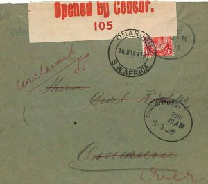 SOUTH WEST AFRICA WW1 RETOUT Cover *Omaru* Karibib Censor Swakopmund 1918  E195