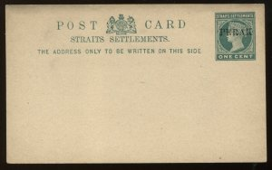 Malaya Perak overprinted on Straits Settlements QV 1 cent Post Card