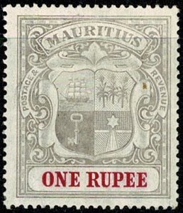 MAURITIUS KE VII 1904-07 1R GREY-BLK & RED  UNUSED (MH) SG175 Wmk.MCCA P.14 VGC