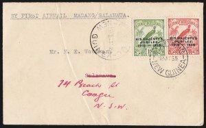 NEW GUINEA 1935 Madang-Salamaua First Flight Cover . AAMC cat $350. VERY RARE!