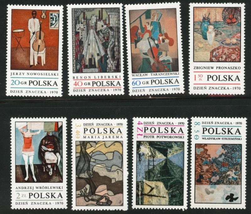 Poland Scott 1763-1770 MNH** 1970 Modern Art set