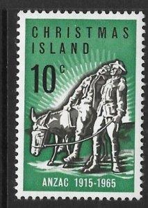 CHRISTMAS ISLAND SG21 1965 50th ANNIV. OF GALLIPOLI LANDING MNH
