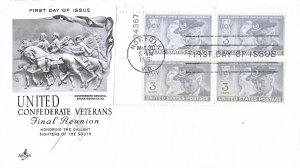 #998, 3c United Confederate Veterans (UCF), Art Craft, plate block of 4
