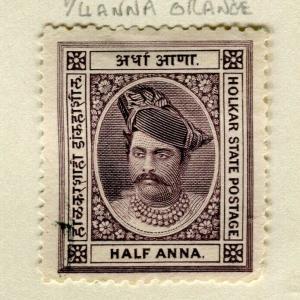 INDIA; INDORE 1889 early Maharaja Holkar issue mint unused 1/2a. value