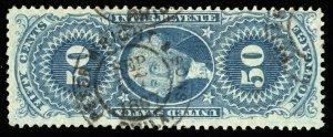 B623 U.S. Revenue Scott #R59c 50c Mortgage 1867 handstamp cancel