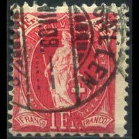 SWITZERLAND 1907 - Scott# 124 Helvetial 1f Used