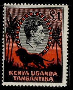 KENYA UGANDA TANGANYIKA GVI SG150, £1 black & red, M MINT. Cat £42. PERF 14