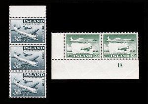 ICELAND ISLAND 1959 SCOTT #C30-C31 40TH ANNIVERSARY AIRPOST FLUGPOST MNH-OG