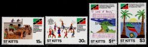 St Kitts 157-60 Specimen o/p MNH Music, Construction, Flag, Folk Dances
