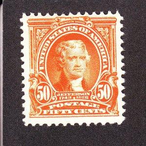 US 1902 310 50c Jefferson Mint VF OG LH w/ PF Cert SCV $375