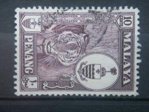 PENANG, 1954, used 10c, Tiger, Scott 35