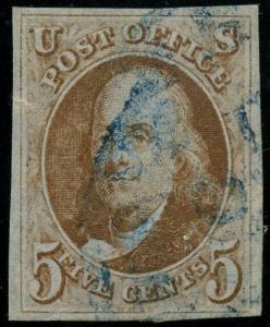 #1b (ORANGE BROWN) 5¢ XF USED WITH BLUE CANCEL CV $790++ HW2696