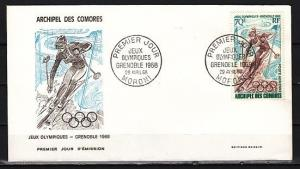 Comoros Is., Scott  cat. C22. Grenoble Winter Olympics issue. First day cover.