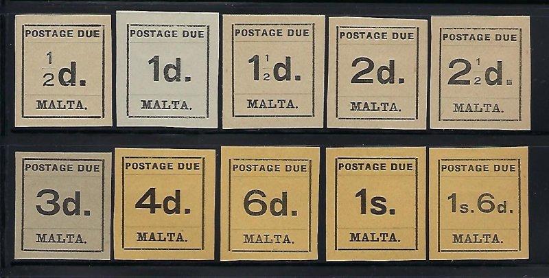 MALTA SCOTT #J1-J10 1925 POSTAGE DUES  - MINT HINGED