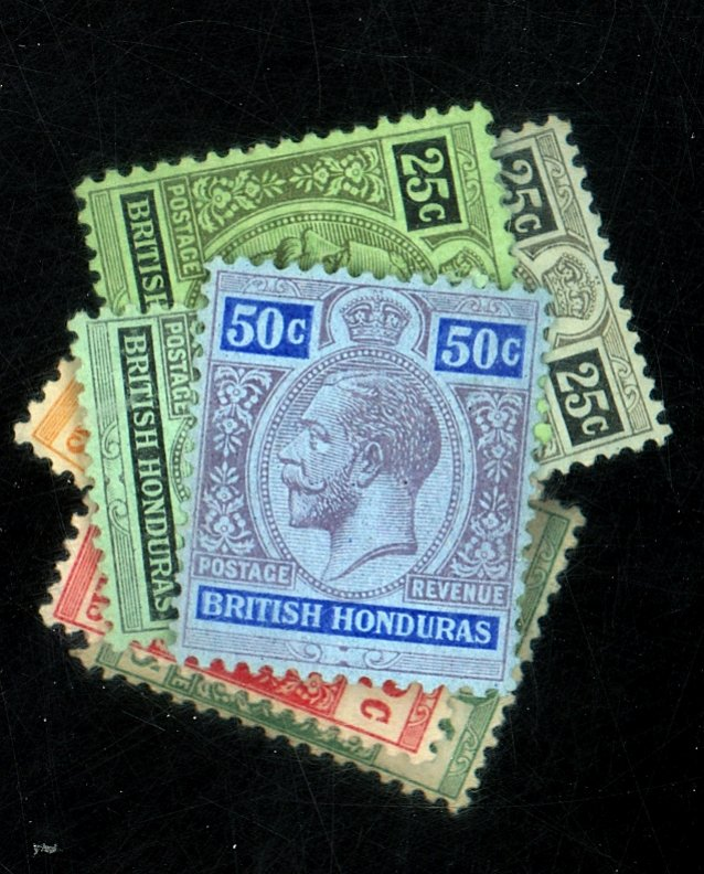 BRITISH HONDURAS #75-80 80a 80b 81-2 MINT F-VF OG LH/HR Cat $73