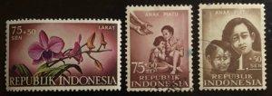 Indonesia Scott#B108, B113-114 Used/Unused Group of 3 F/VF to XF H Cat. $1.00
