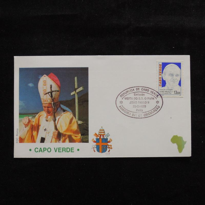 ZS-S166 CAPE VERDE IND - John Paul II, Visit To Capo Verde, 1990, Fdc Cover