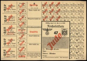 3rd Reich Germany 1943 Munich Butter and Lard Ration Card for Jewish Perso 96259