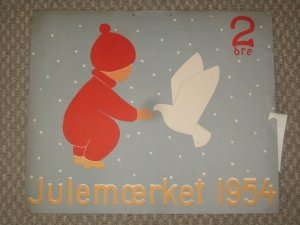 Denmark.. 1 Post Office,Display,Advertising Sign. Girl,Bird. Christmas Seal 1954