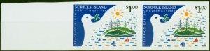 Norfolk Islands 1986 Christmas $1 SG395 Var Marginal Imperf Pair Fine MNH