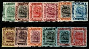 BRUNEI SG34/47 1908-22 COLOURS CHANGED DEFINITIVE SET MTD MINT