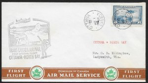 CANADA First Flight Cover c1939 Ottawa to North Bay