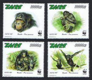 Zaire WWF Bonobo Monkey 4v SC#1466 a-d MI#1339-1342