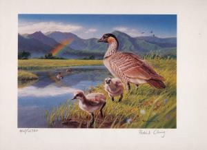 HAWAII 1996 1ST OF STATE DUCK STAMP PRINT & MATCHING STAMP NENE GOOSE