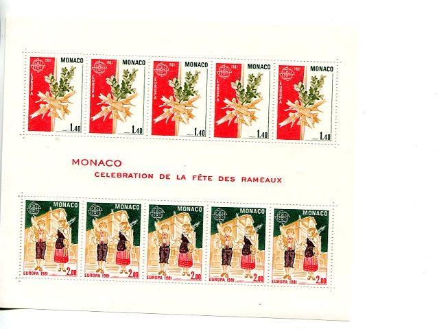 Monaco 1981 Europa mini sheet   Mint VF NH favour cancel