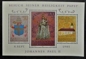 Liechtenstein 816. 1985 Pope John Paul II State Visit souvenir sheet, NH