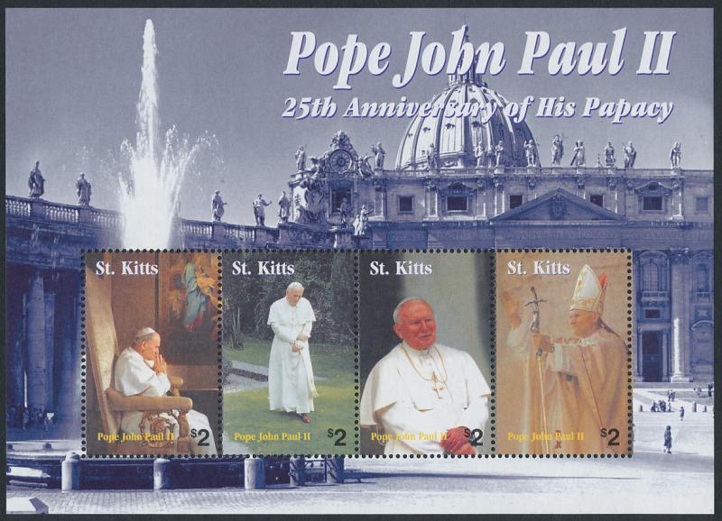 St Kitts 592 sheet MNH Pope John Paul II, 25th Anniversary of his Papacy
