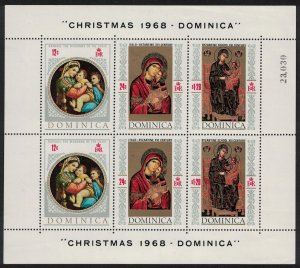 Dominica Paintings Christmas Sheetlet D1 SG#245 MI#238-240KB