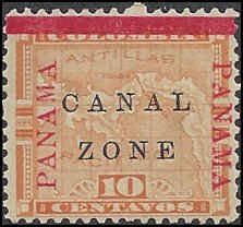 Canal Zone 13 Mint,OG,NH... SCV $21.00 (for hinged)